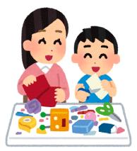 母親と遊ぶ子供